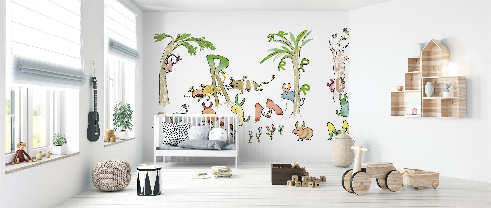 Letterbus growling M Riaring R - Wallpaper - Nursery