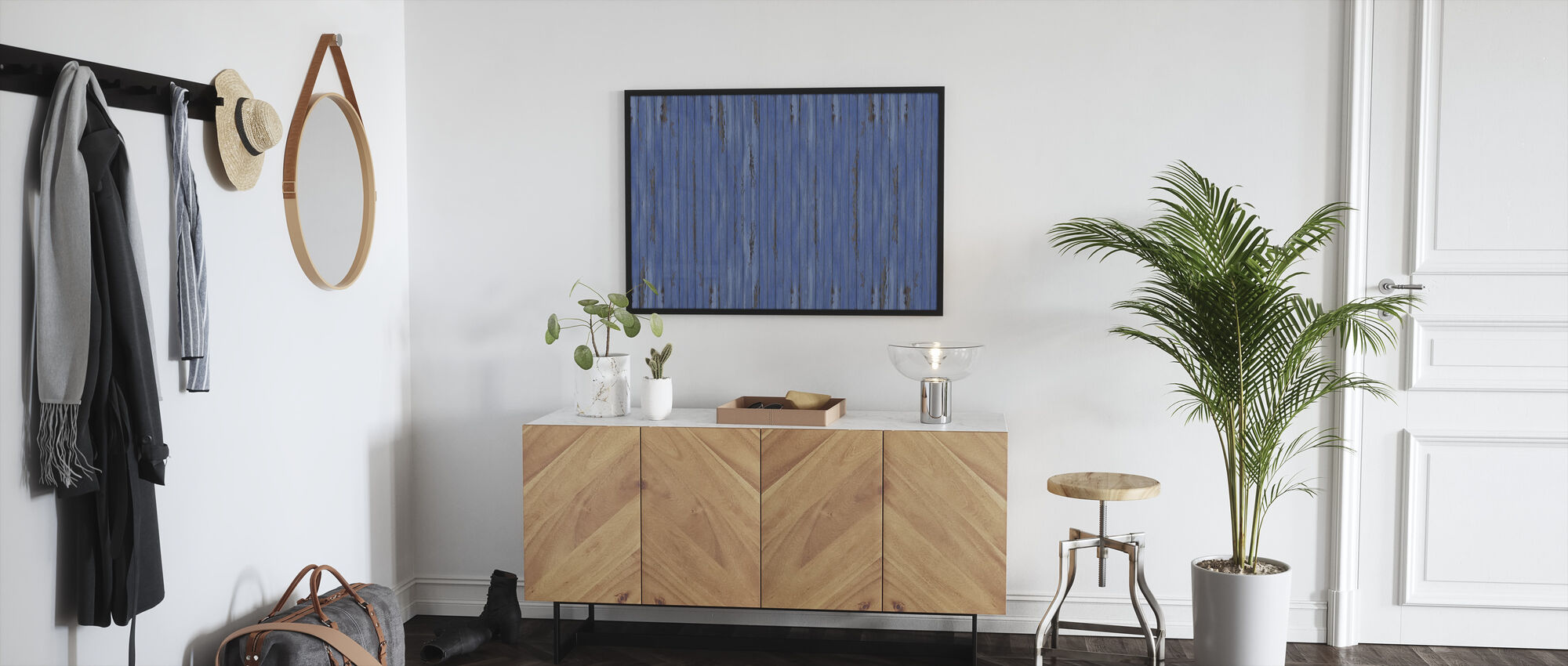 Blue Vintage Wood Wall - Framed print - Hallway