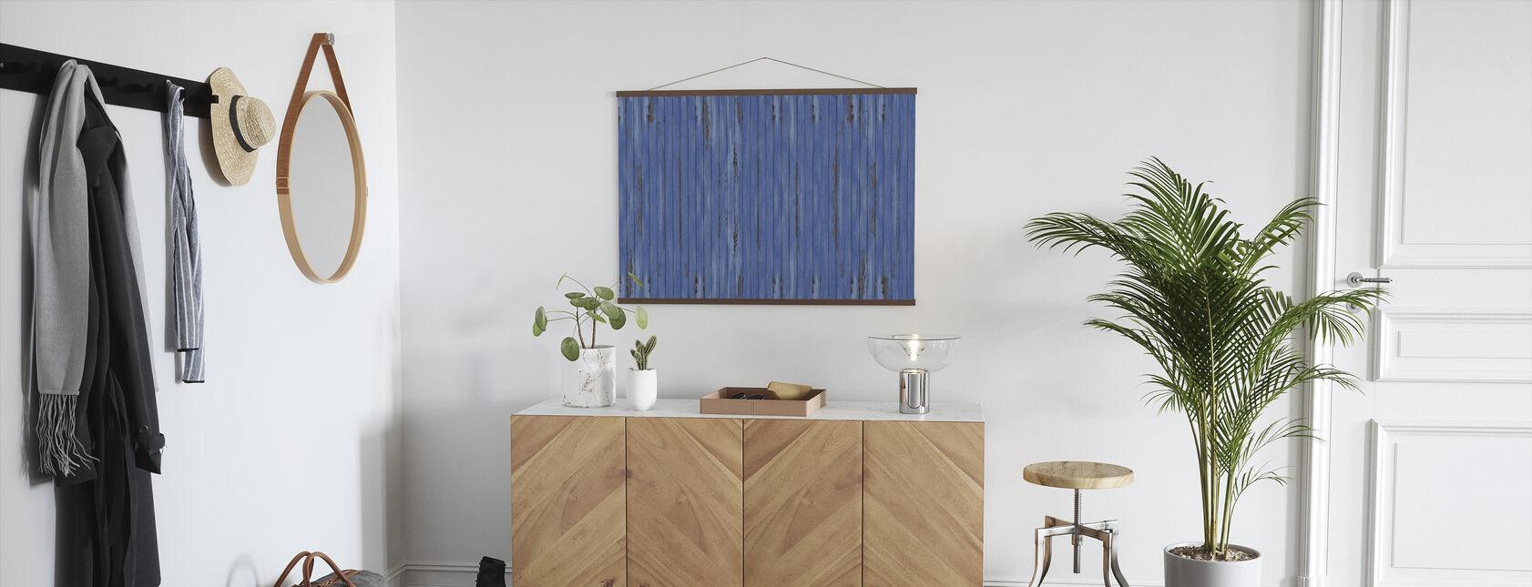 Blue Vintage Wood Wall - Poster - Hallway