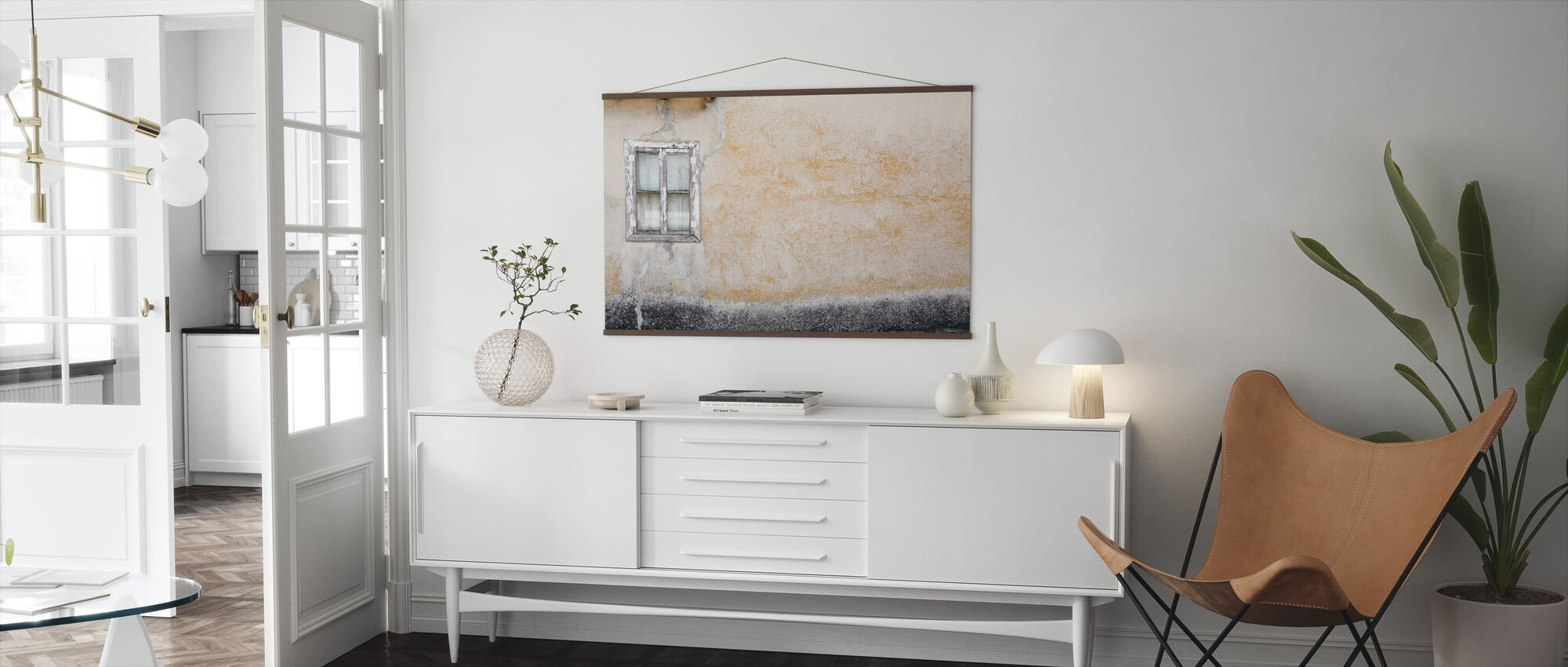 Old Wall with Wooden Window - Poster - Living Room