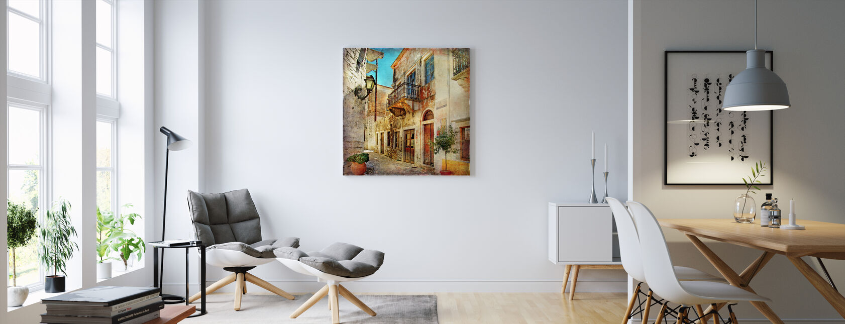 Old Street of Greece - Canvas print - Living Room
