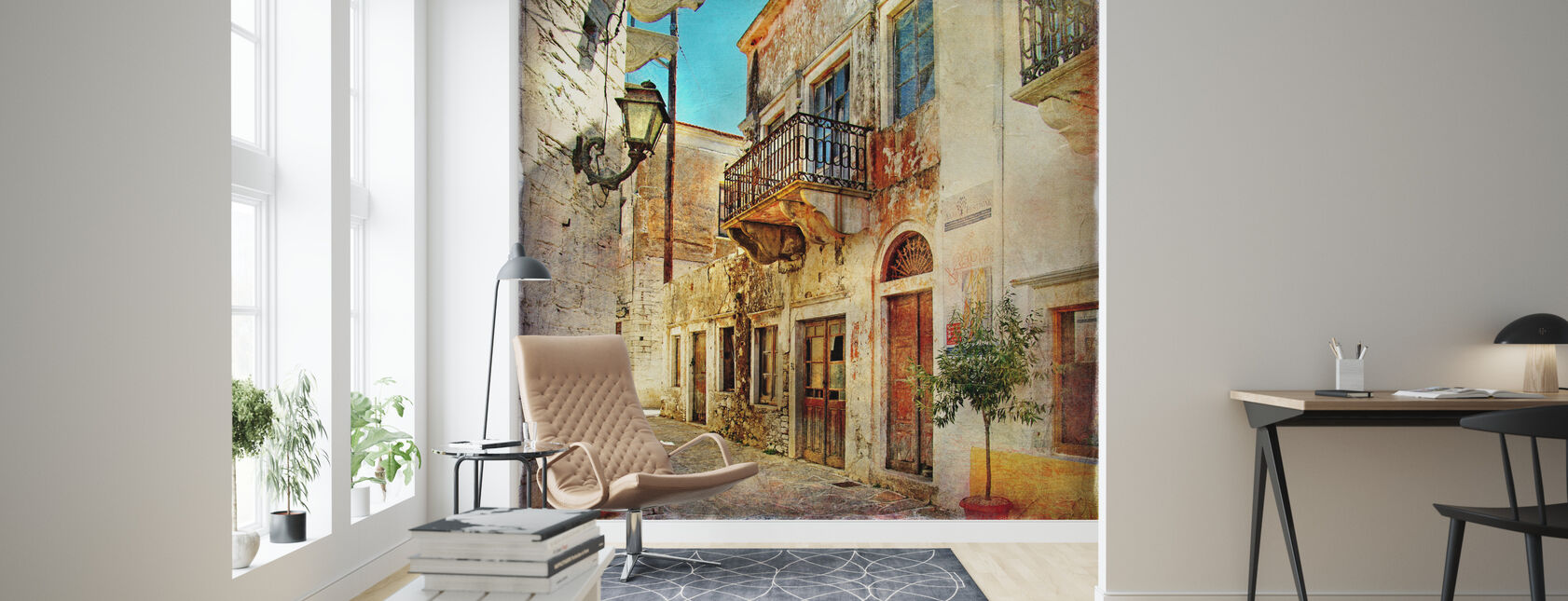 Old Street of Greece - Wallpaper - Living Room