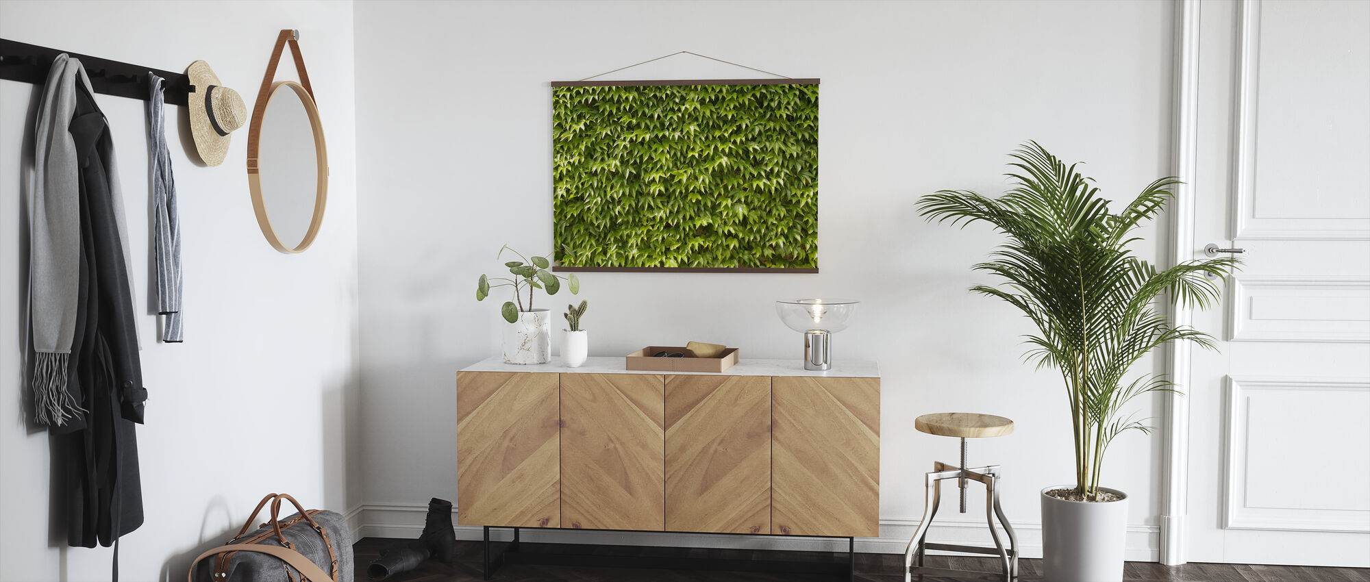 Green Wall of Ivy Leaves - Poster - Hallway
