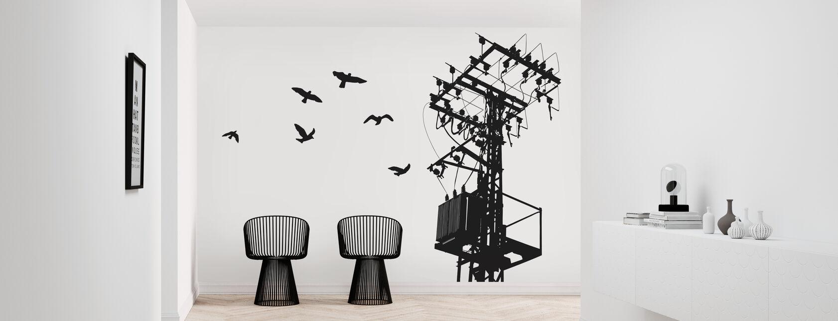 Powerline - Black and White - Papel pintado - Corredor