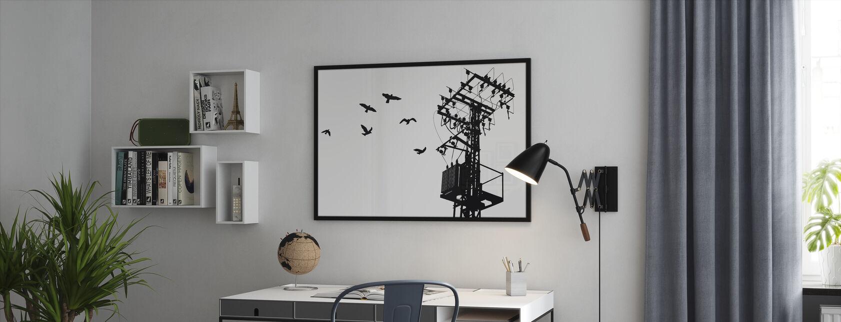 Powerline - Schwarz und Weiß - Gerahmtes bild - Büro