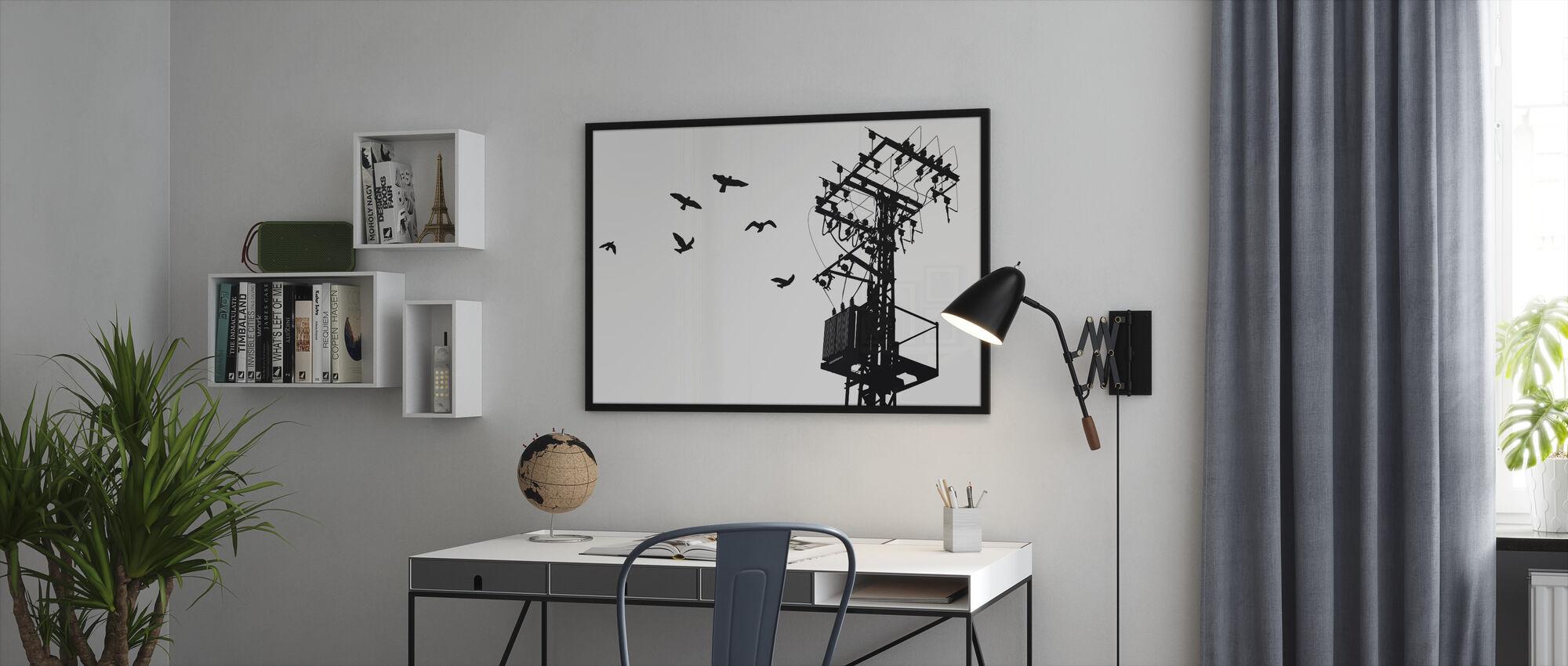 Powerline - Mustavalkoinen - Kehystetty kuva - Toimisto
