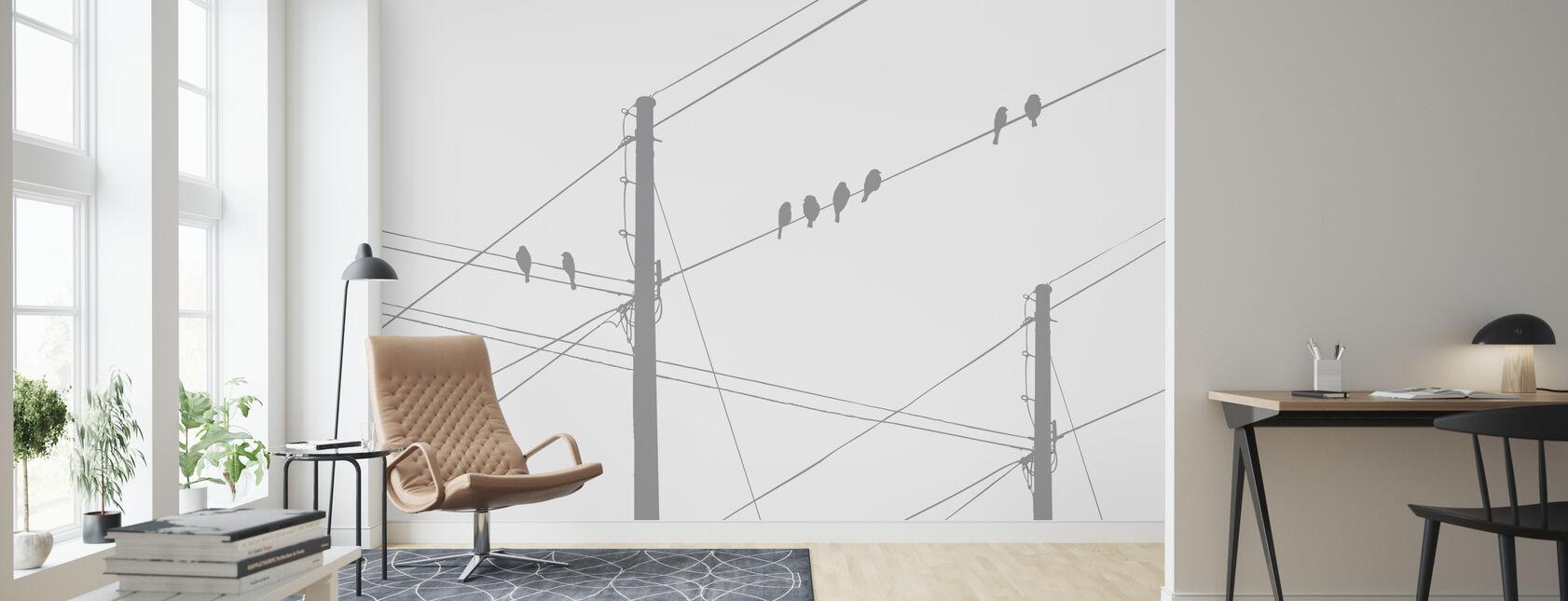 Powerlines - Grey - Wallpaper - Living Room
