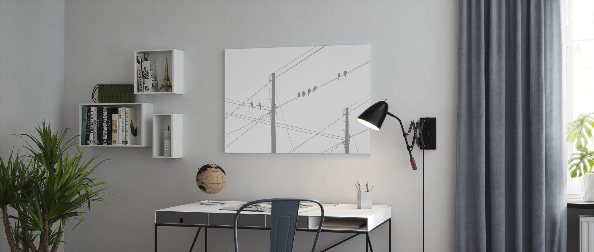 Powerlines - Grey - Canvas print - Kantoor