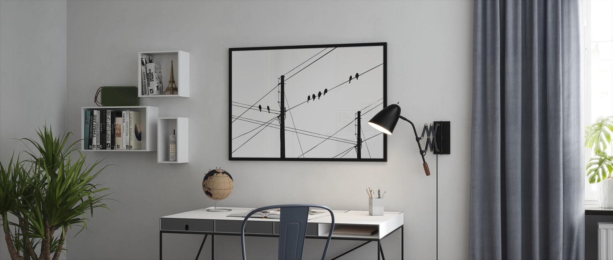 Powerlines - Black - Framed print - Office