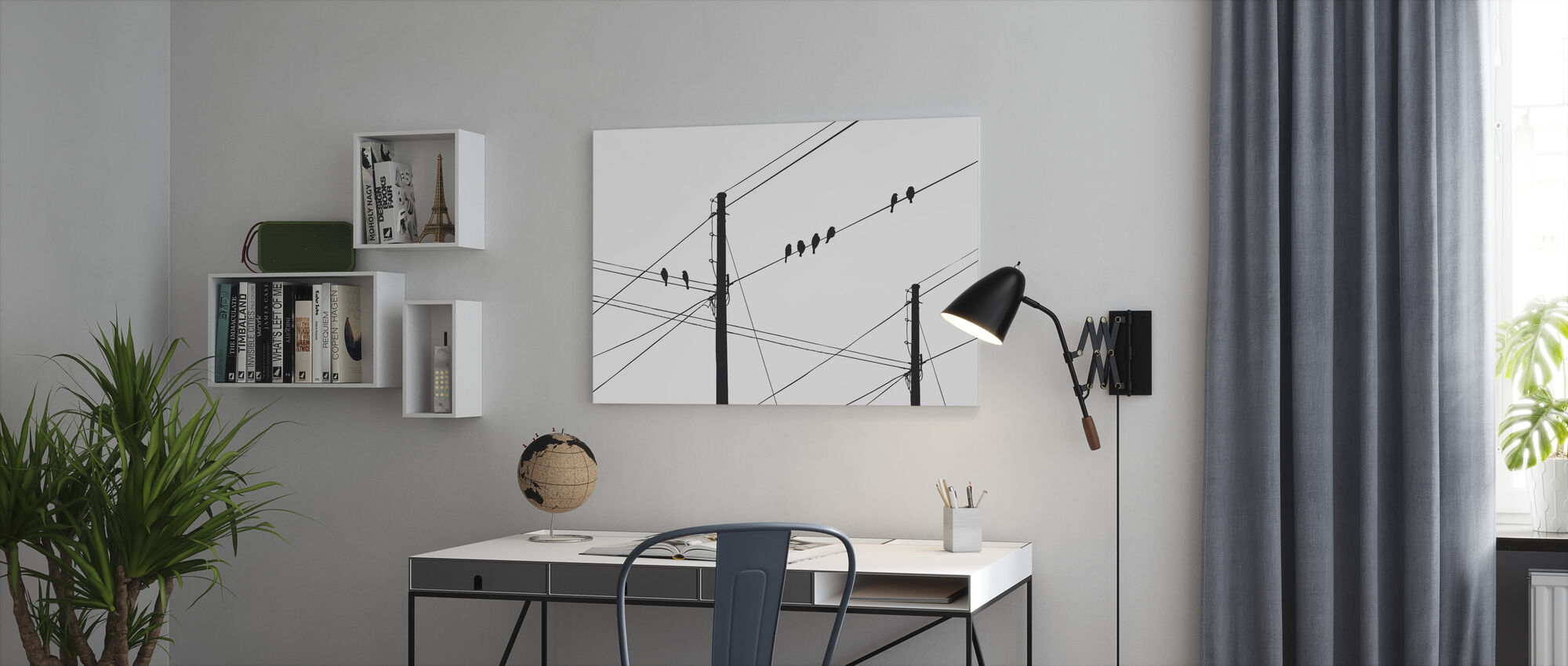 Powerlines - Black - Canvas print - Office