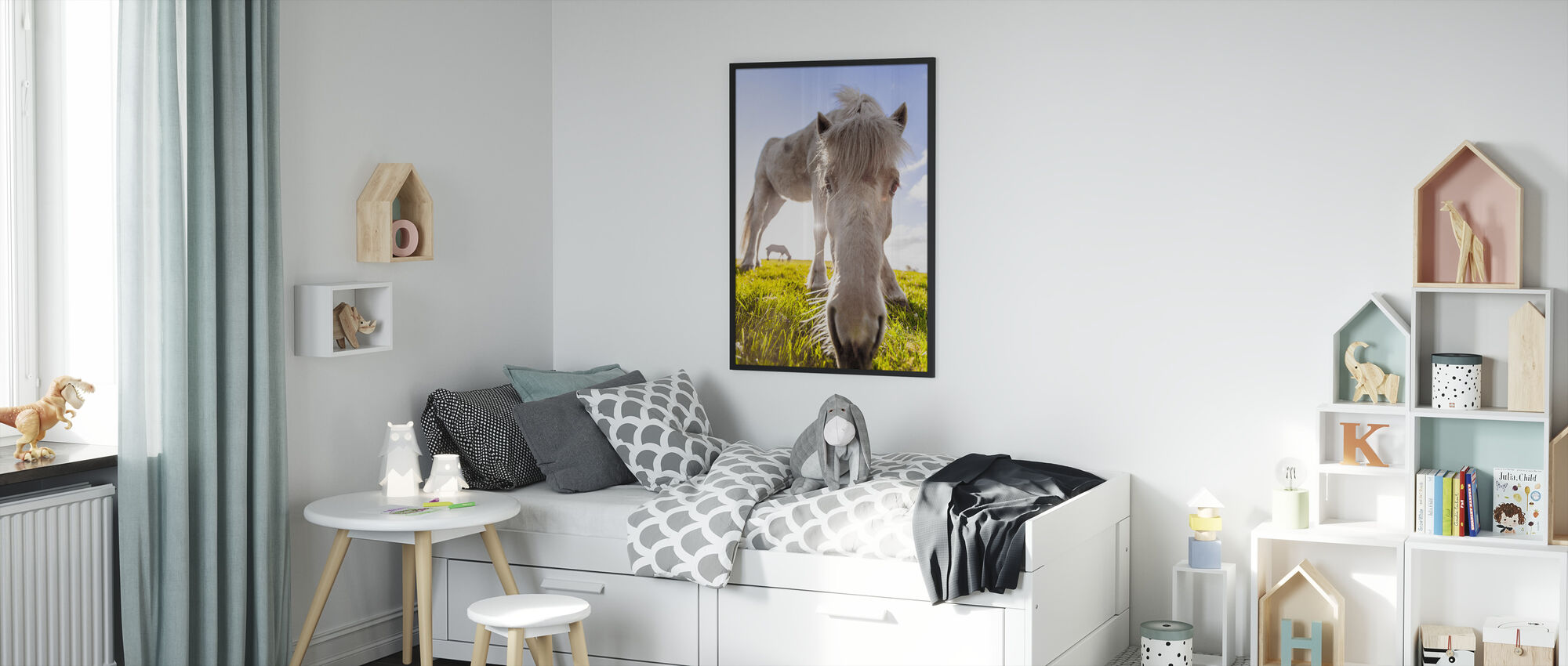 White Horse - Framed print - Kids Room