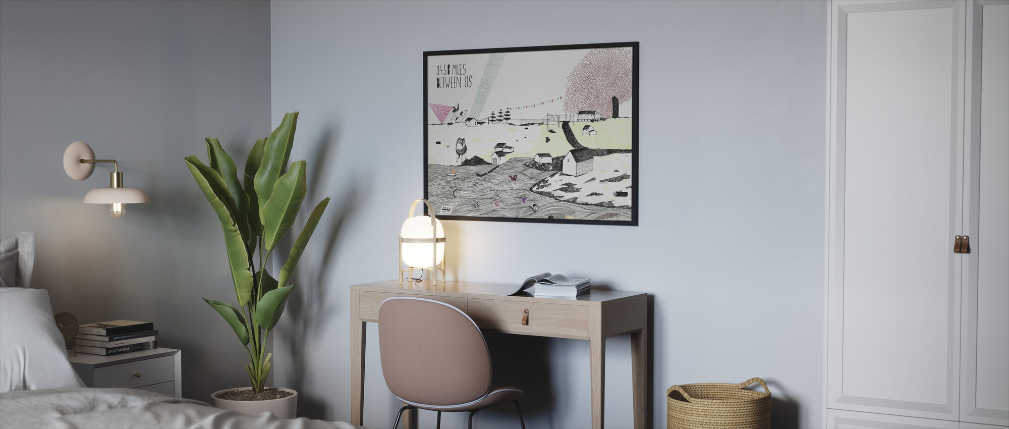 Mijlen tussen ons - Ingelijste print - Slaapkamer