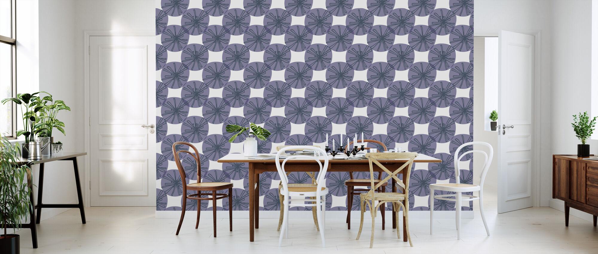 Paardebloem - Paarsblauw - Behang - Keuken