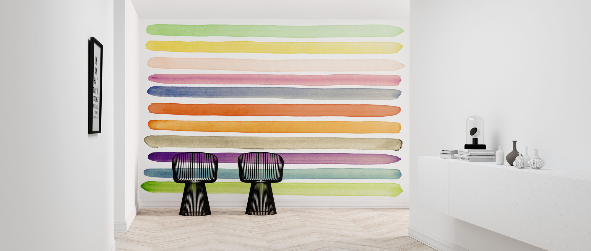 Watercolor Stripes - Wallpaper - Hallway