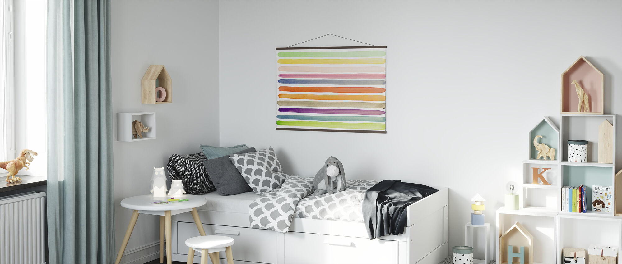 Watercolor Stripes - Poster - Kids Room