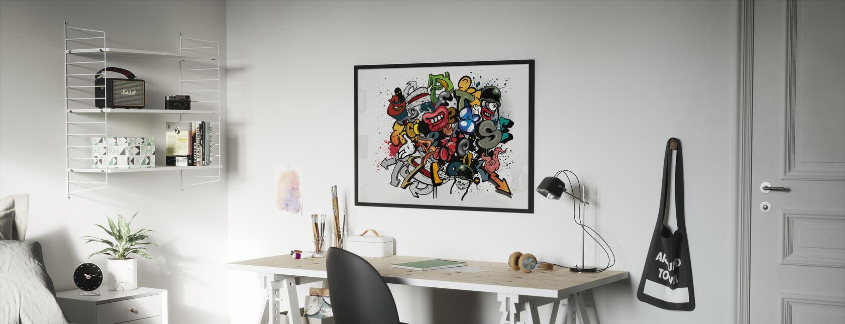 Graffiti-elementen - Ingelijste print - Kinderkamer