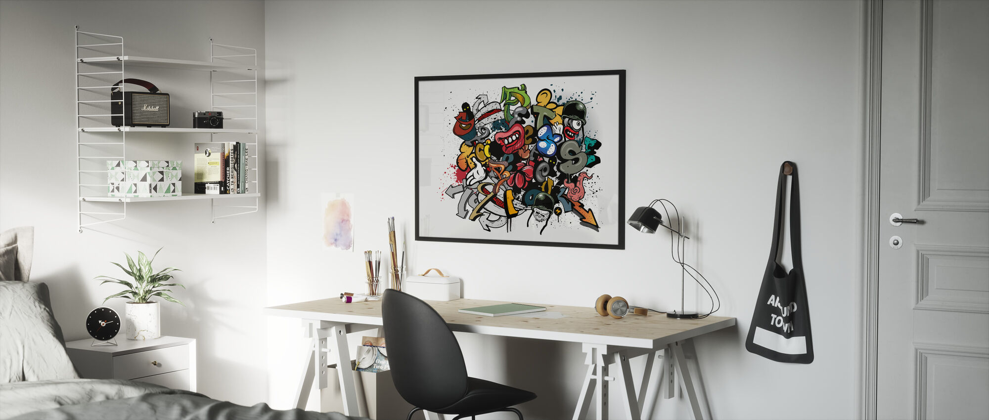 Graffiti Elements - Framed print - Kids Room