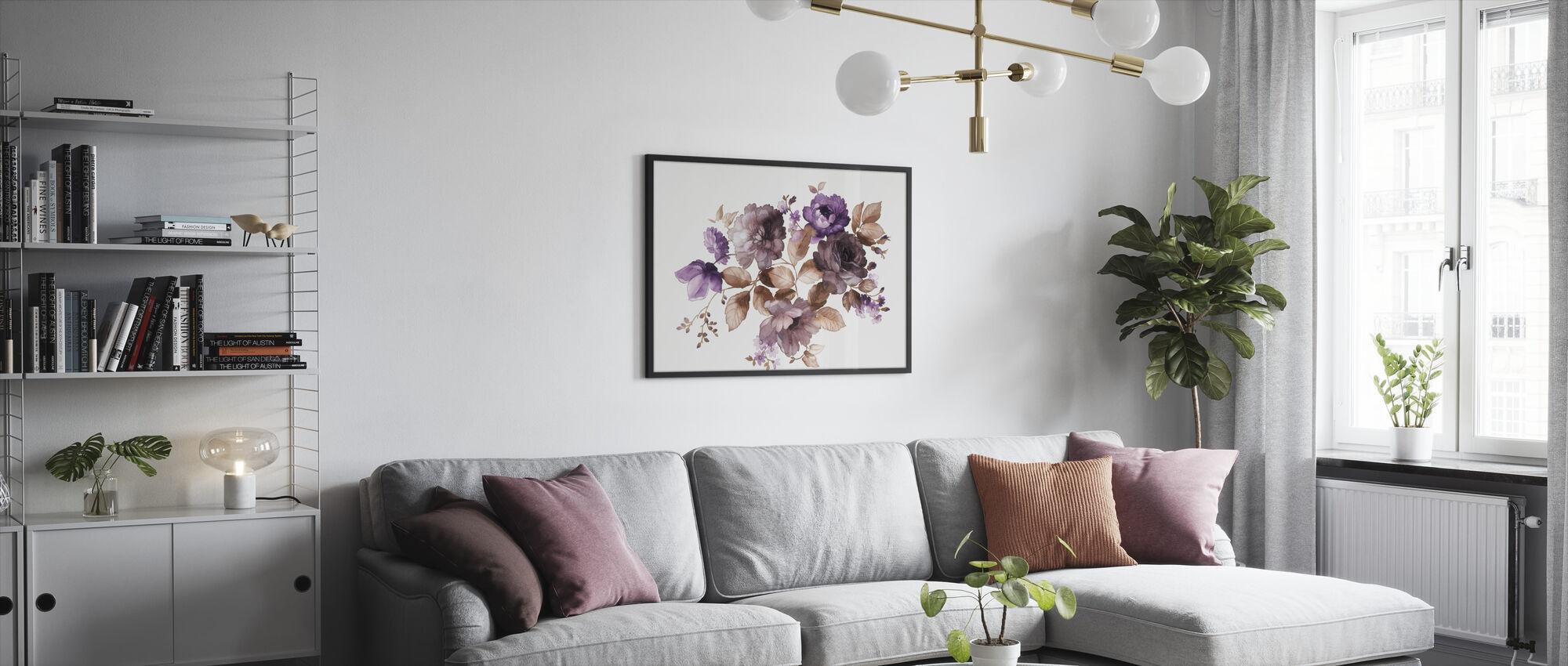 Kukat Akvarelli - Kehystetty kuva - Olohuone