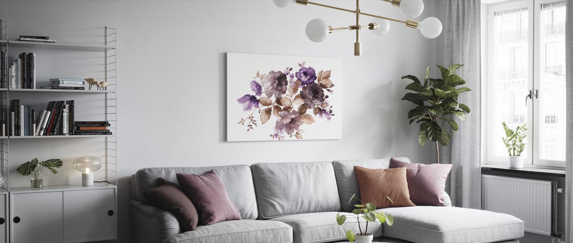Blomster i Akvarell - Lerretsbilde - Stue