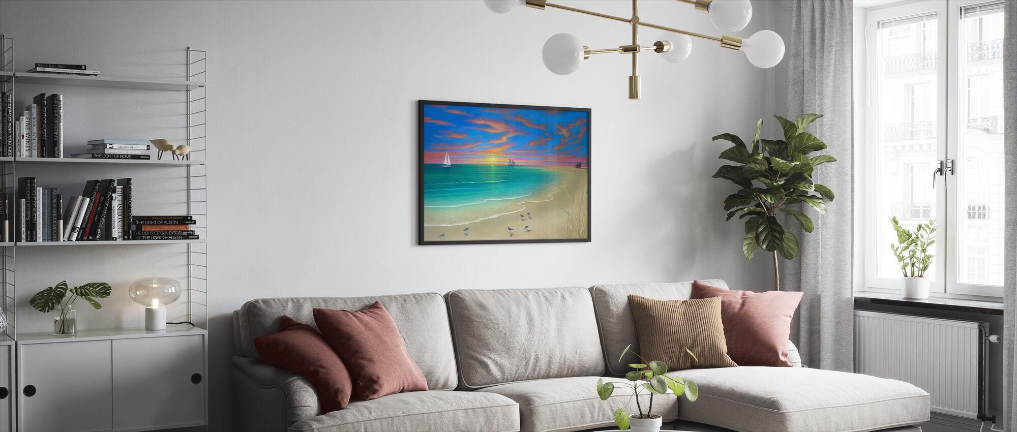 Päivä rannalla - Kehystetty kuva - Olohuone