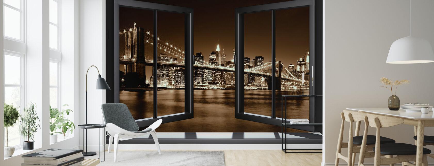 Brooklyn Bridge ikkunan läpi - keltainen - Tapetti - Olohuone