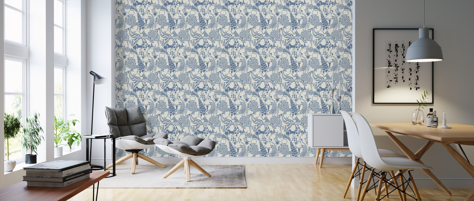 Circus - Blue - Wallpaper - Living Room