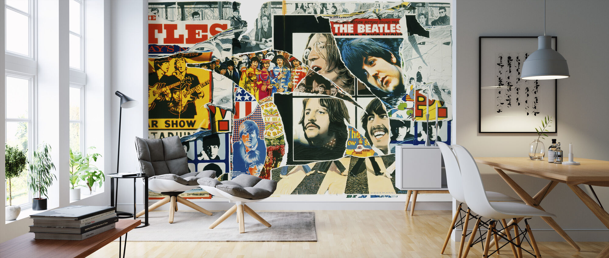 Beatles - Vintage Poster Wall - Wallpaper - Living Room