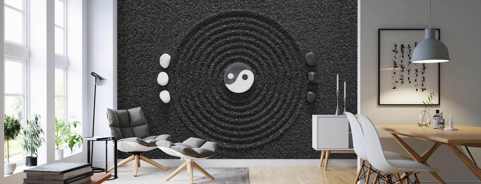 Zen i sort sand - Tapet - Stue