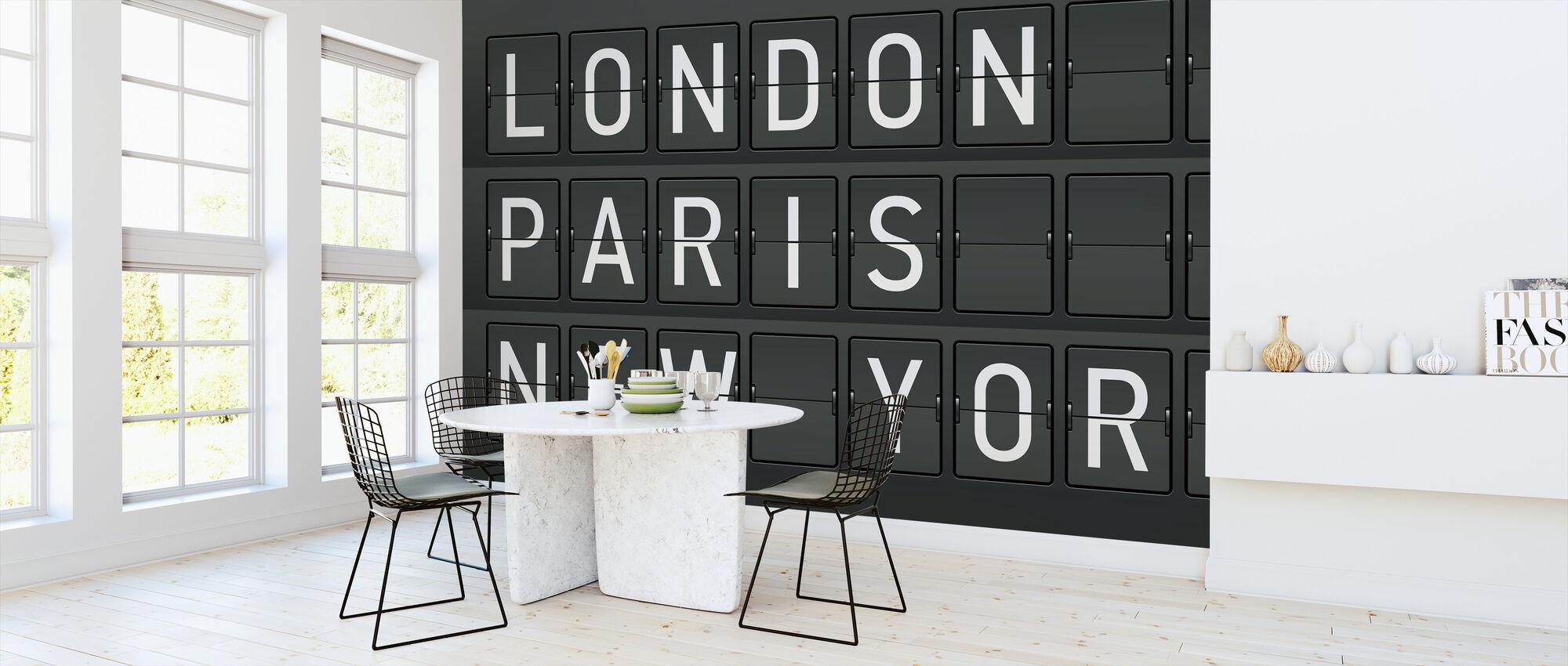 Londen - Parijs - New York - Behang - Keuken