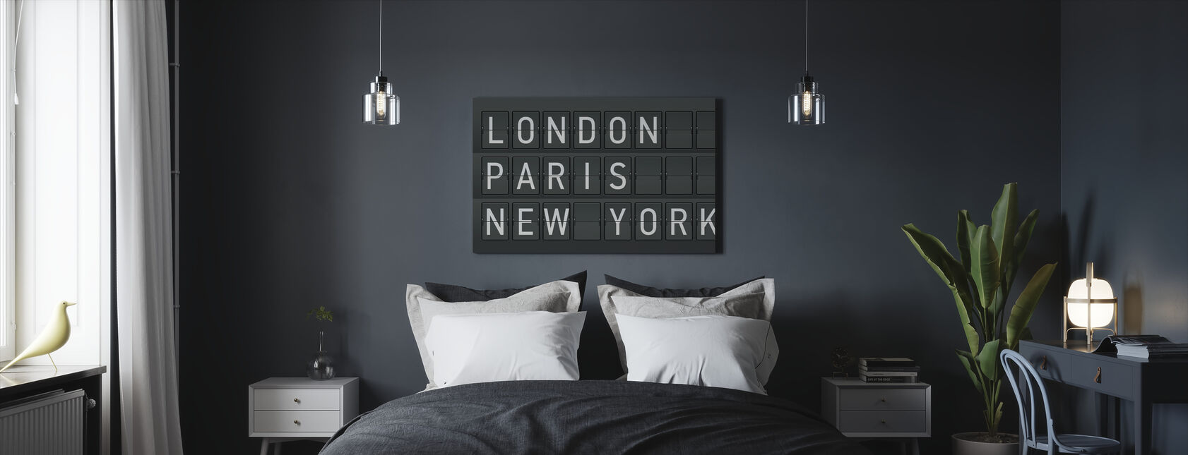 Londres - Paris - New York - Impression sur toile - Chambre