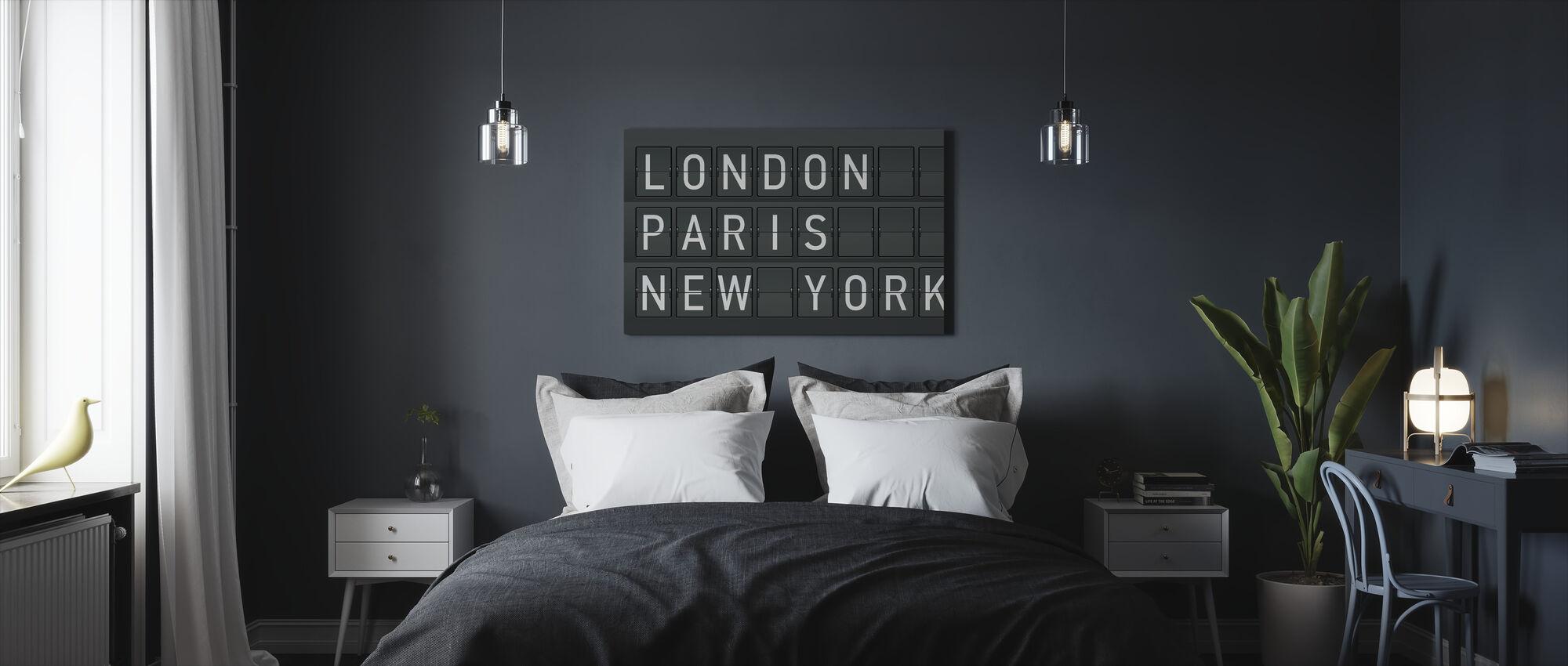 London - Paris - New York - Billede på lærred - Soveværelse
