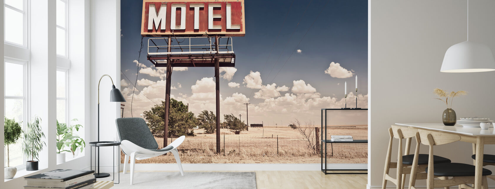 Old Motel Sign on Route 66 - Wallpaper - Living Room
