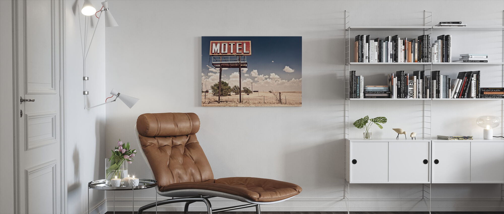 Old Motel Sign on Route 66 - Canvas print - Living Room