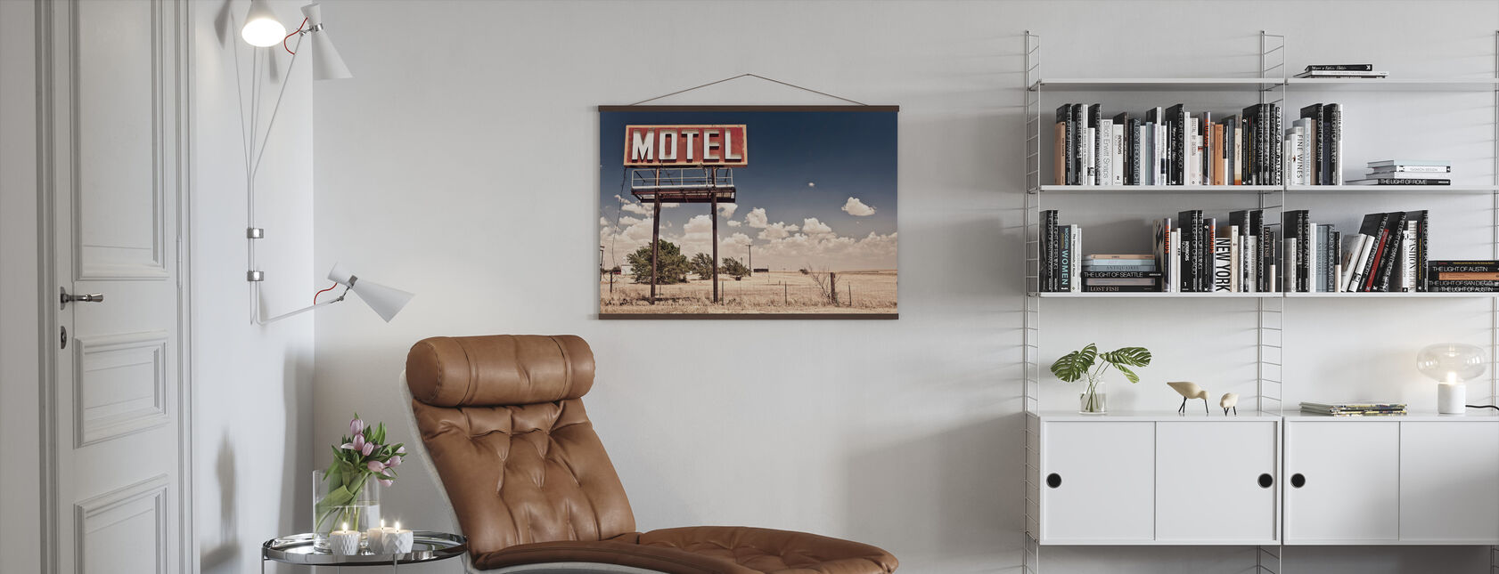Old Motel Sign on Route 66 - Poster - Living Room