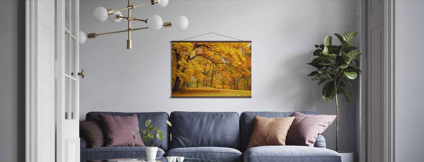 Farverige efterårsblade - Plakat - Stue
