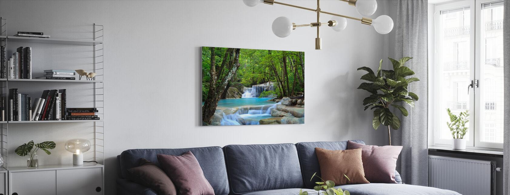 Erawan vesiputous Thaimaa - Canvastaulu - Olohuone