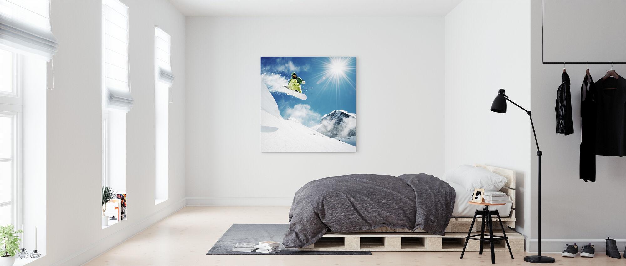 Snowboarder ved spring - Billede på lærred - Soveværelse