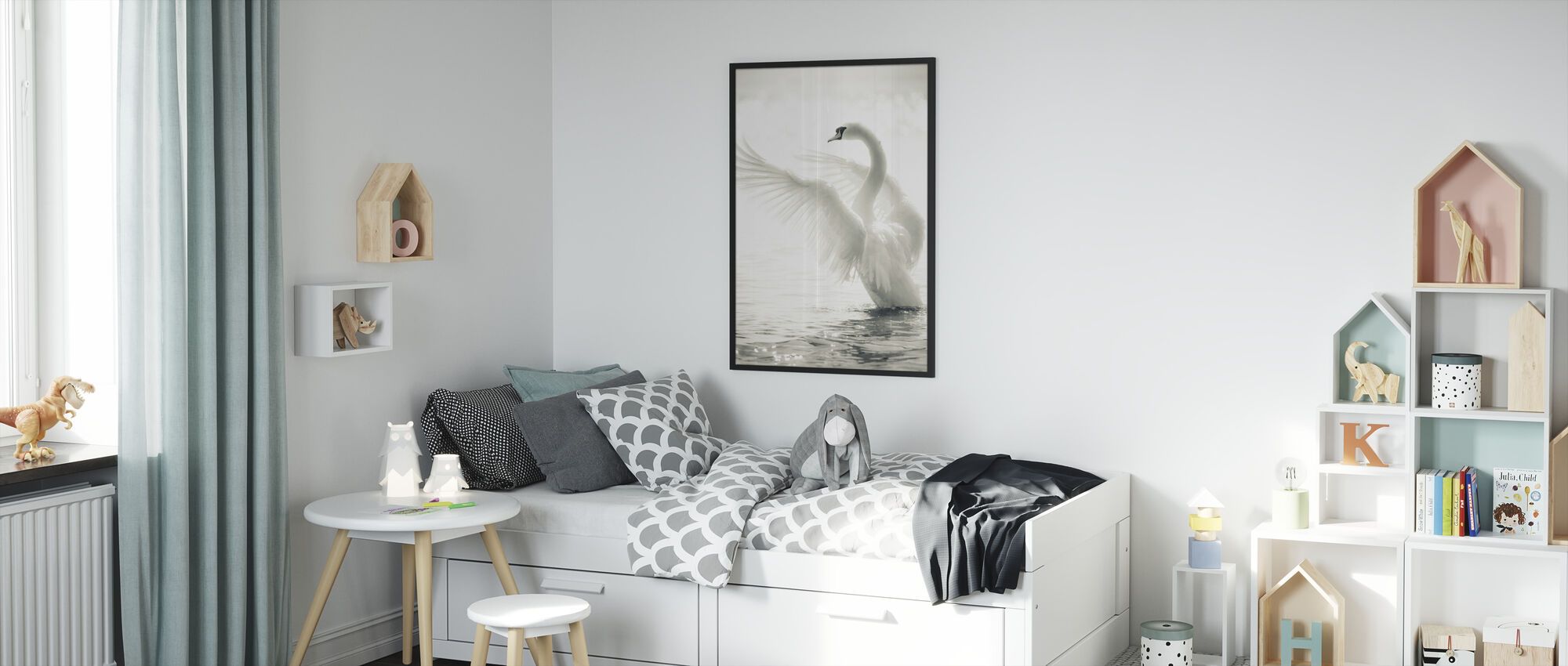 Graceful Swan - Framed print - Kids Room