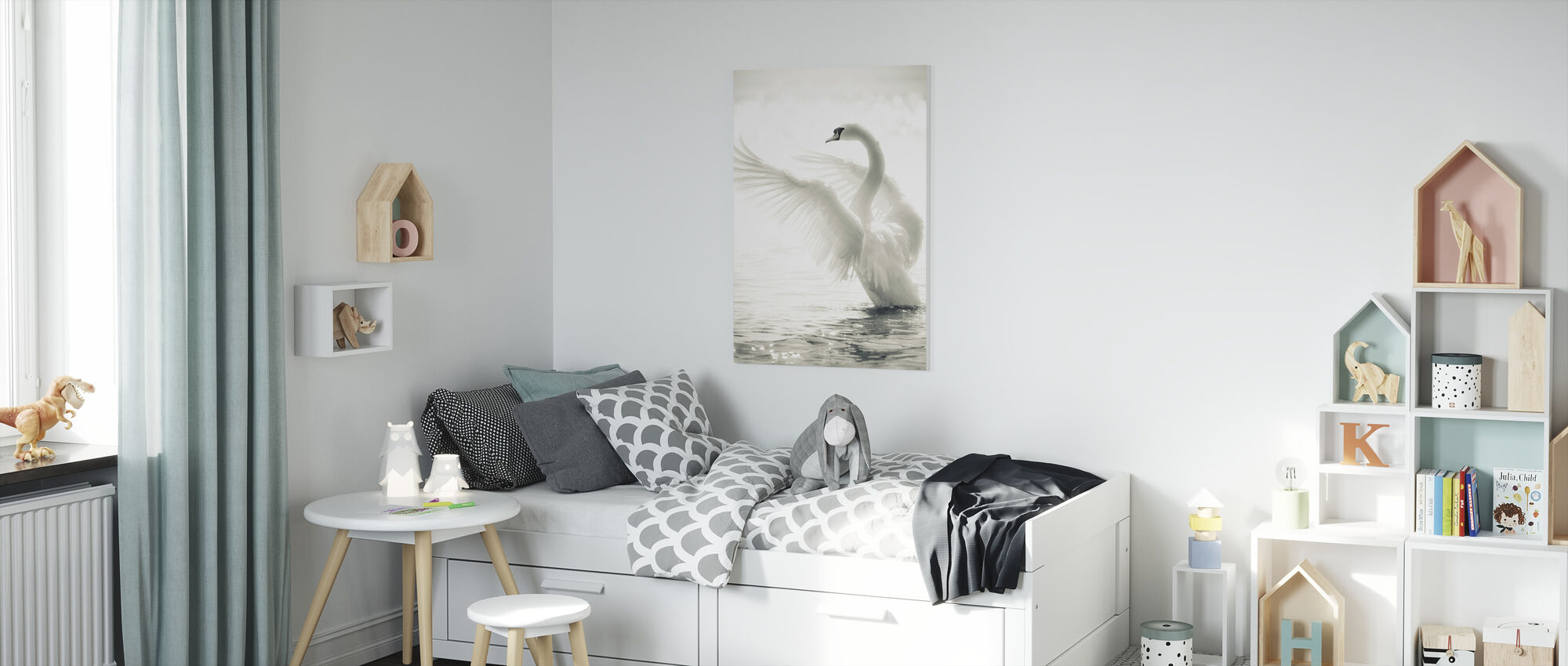 Graceful Swan - Canvas print - Kids Room