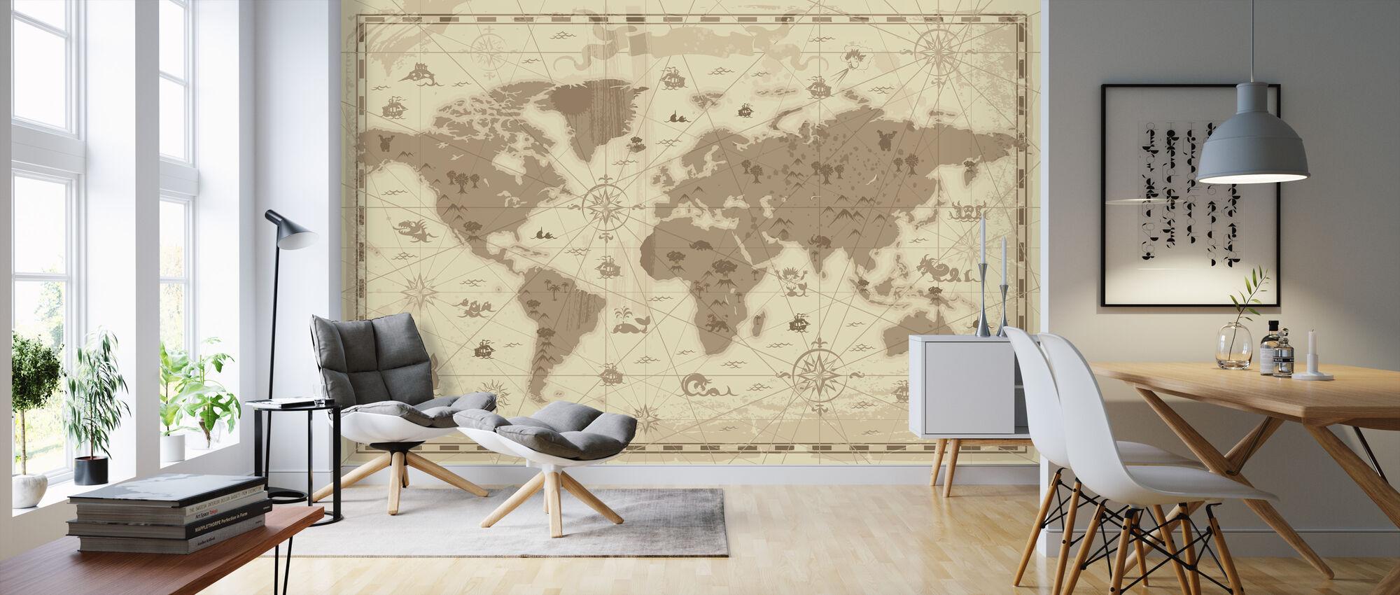 Maailmankartta - Styled - Tapetti - Olohuone
