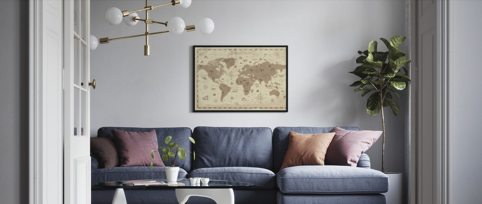 World Map - Styled - Framed print - Living Room