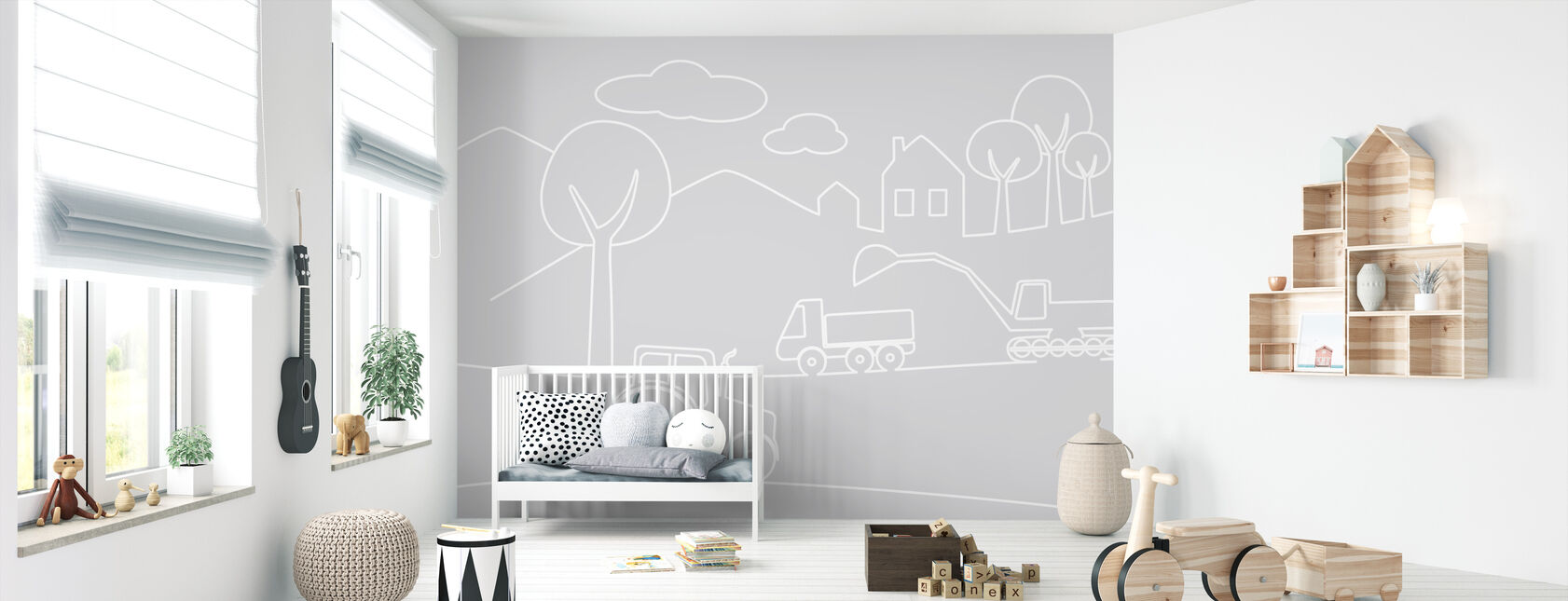 Country Life Lines - Grey - Wallpaper - Nursery