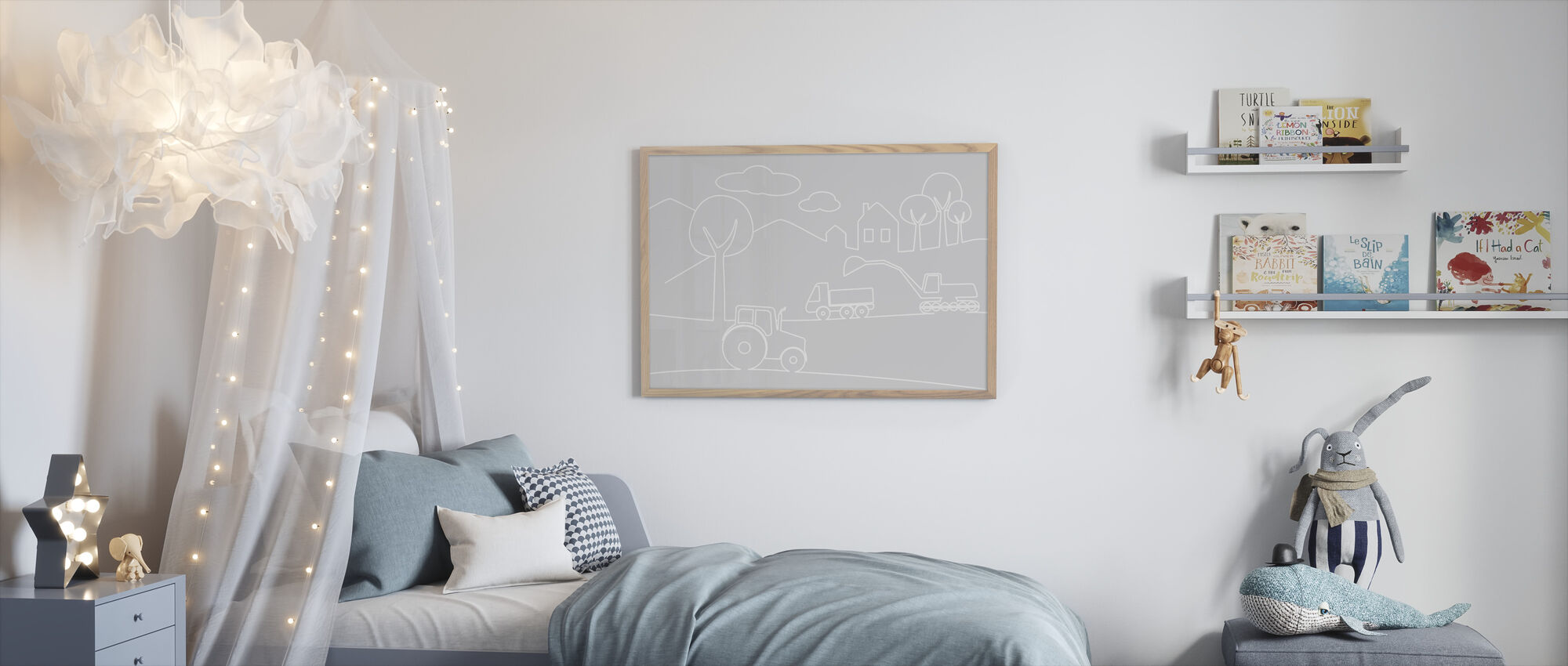 Country Life Lines - Grey - Framed print - Kids Room