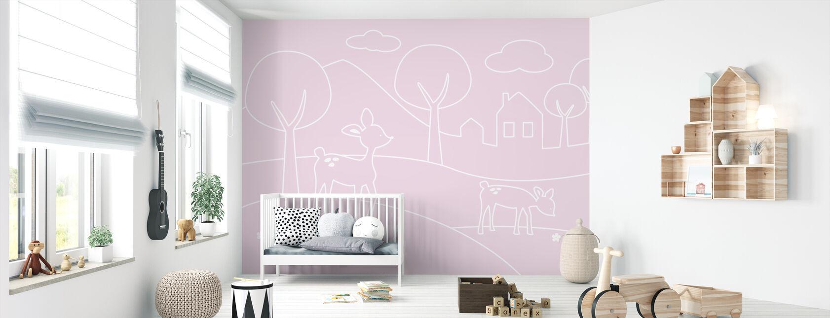 Deer World Lines - pink - Wallpaper - Nursery