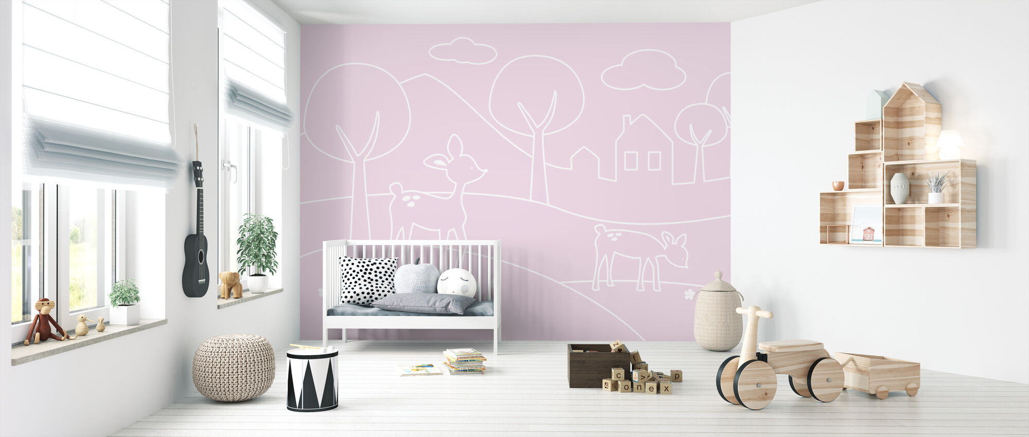 Deer World Lines - pink - Wallpaper - Nursery