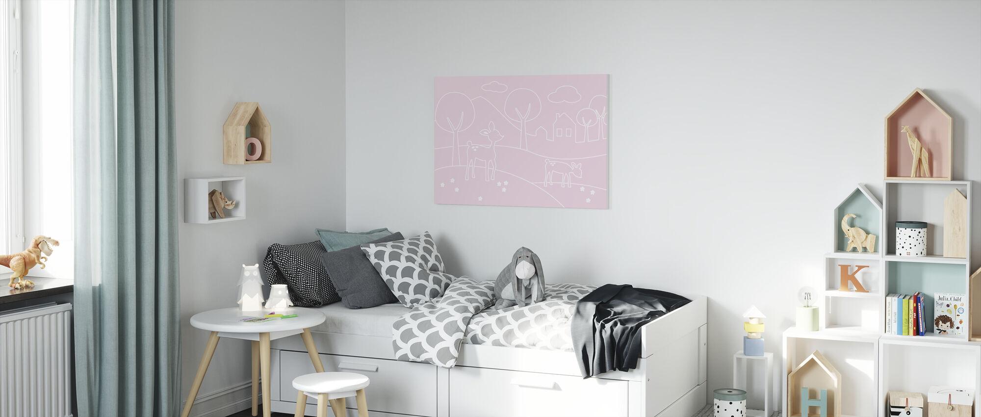 Deer World Lines - pink - Canvas print - Kids Room