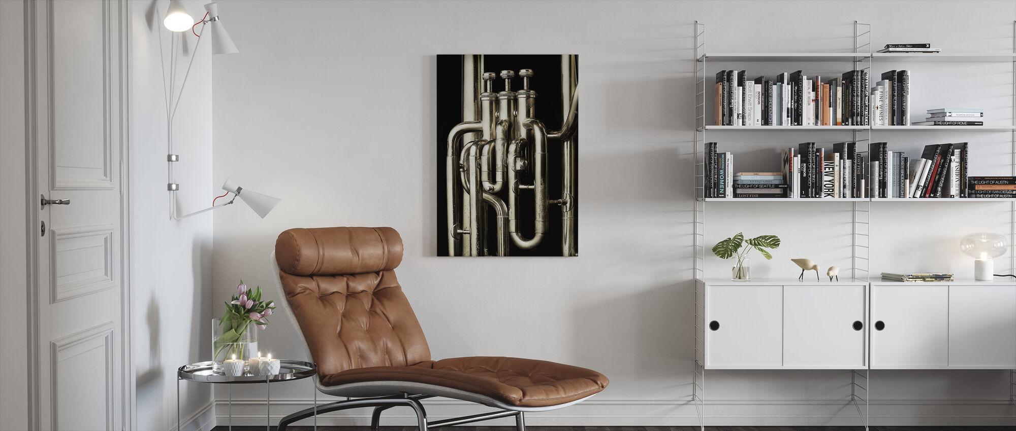 Brass Horn - Tuba - Canvas print - Living Room