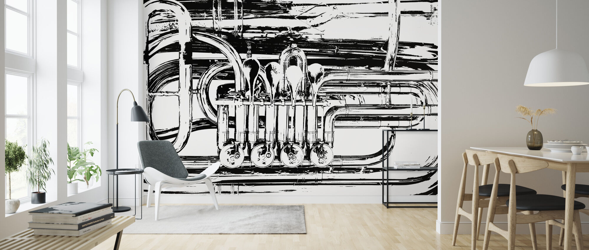 Brass Horn Valve - Graphic Tuba - Wallpaper - Living Room