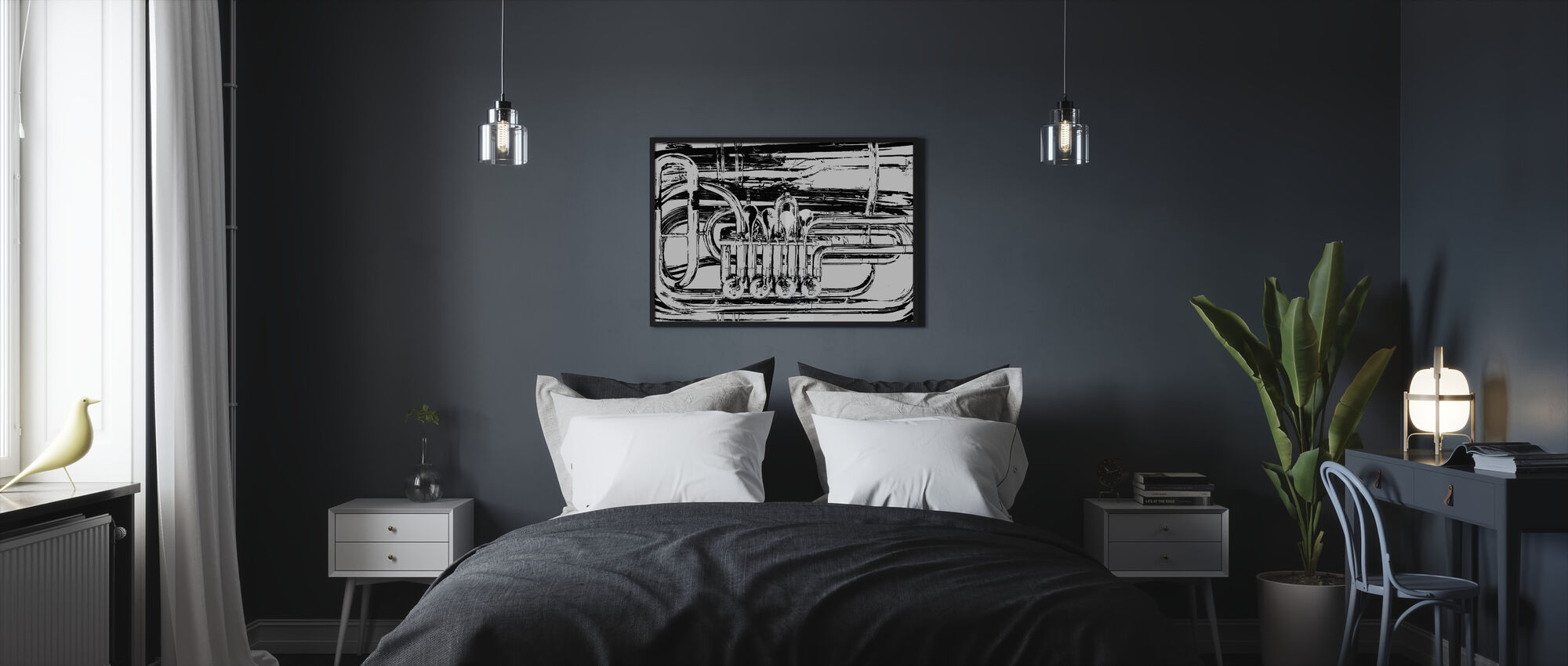 Messinkiäänitorven venttiili - Graafinen tuuba - Kehystetty kuva - Makuuhuone