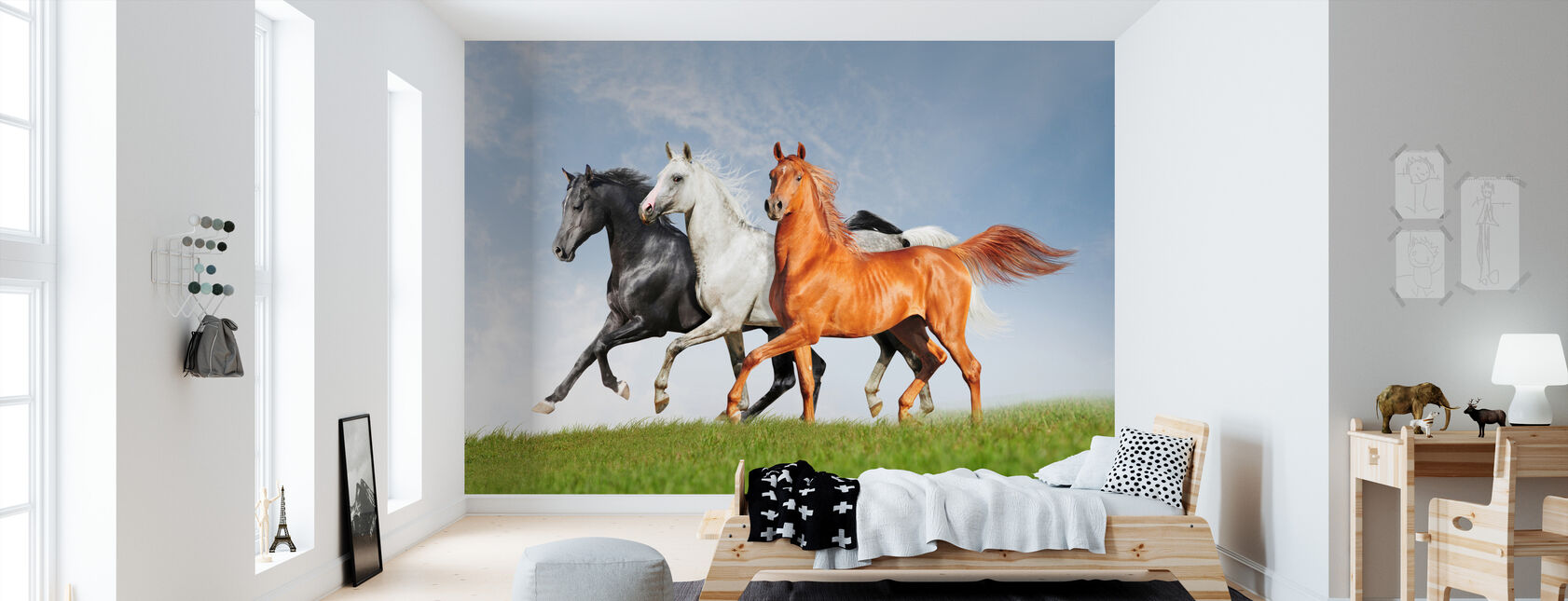 Arabiske heste løbe gratis - Tapet - Børneværelse